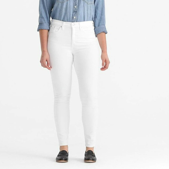 "J. Crew Size 27 High-Rise 9"" Toothpick Skinny Jeans Denim Pure White"